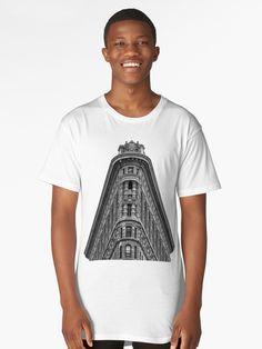 Flatiron Building Long T-Shirt Flatiron Building, Flat Iron, Men's Apparel, Manhattan, Tee Shirt, Monochrome, Skyscraper, Chiffon Tops, Classic T Shirts