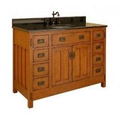 If you're renovating a house from the fifties, a mission style bathroom vanity like this is a perfect choice. Check out some beautiful options here.