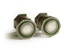 Art Deco Cufflinks / 1920's Snap Link Cuff Links / Mother of Pearl Snaplinks / Octagon Green Celluloid Enamel / Vintage Shirt Cuff Buttons