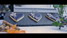 Midnight blue orange & cinnamon biscuits. Heart shaped biscuits. Fun biscuit making advert. Creative Wedding Cakes, Beautiful Wedding Cakes, Wedding Cake Designs, Beautiful Cakes, Shapes Biscuits, Luxury Cake, Cake Flavors, Sugar Flowers, Heart Shapes