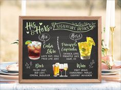Digital Printable Wedding Bar Menu Sign, His and Hers Signature Drinks Signature Cocktails Signs, Watercolor Drinks Sign, Wedding Signage, Pineapple Caipirinha, Cuba Libre, Drinks Illustration, Cocktails Illustration, Chalkboard Signs, Reception Signs, Wedding Signs IDM17 ♥♡♥