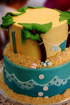 http://cakedecoratingcoursesonline.com/cake-decorating/ Surfing Themed Baby Shower Cake. Do you want your #personal #Baby #Shower #cake? - Learn How to #Decorate Cakes - Visit Online Cake Decorating Classes on http://CakeDecoratingCoursesOnline.com