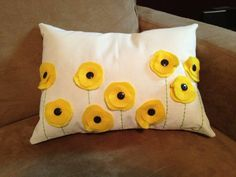 Yellow Poppy Felt Pillow Cover by ScarletPoppyDesigns on Etsy