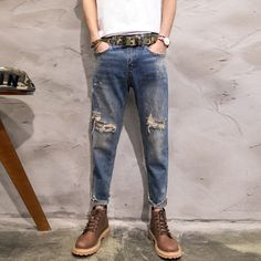 TRUST DREAM 2017 Spring Summer Men Vintage Ripped Jeans Ankle Length Man Fashion Denim Special Hole Jeans