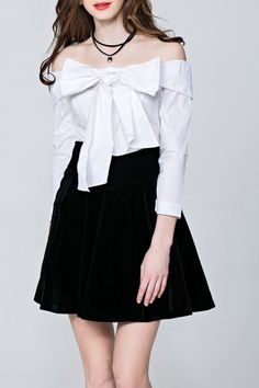 Shop sipaiya white off the shoulder bowknot blouse here, find your blouses at dezzal, huge selection and best quality. Kawaii Fashion, Cute Fashion, Asian Fashion, Girl Fashion, Womens Fashion, Fashion Design, Fashion 2017, Dress Outfits, Fashion Dresses