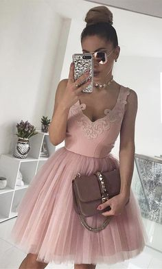 pink homecoming dresses,ball gown homecoming dresses,tulle homecoming dresses,short homecoming dresses @SevenProm