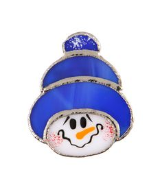 Handmade stained glass Snowman hat pin and pendant.  Would like this as ornaments on tree at Christmas.