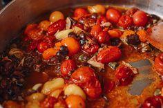 Roasted Cherry Tomato Pasta Puttanesca, by thewoksoflife.com