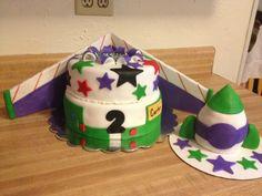 Toy Story BuzzLightyear 1st birthday cake & rocket ship smash cake