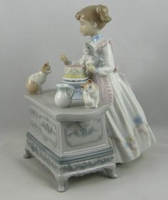 "Lladro Girl with Kittens Cats Figurine 6134 ""Birthday Party"" Retired 1998 