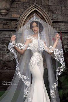 Lace bridal veil, beautiful bridal veil, cathedral veil, lace veil wedding veils – wedding ideas – Famous Last Words Best Wedding Dresses, Wedding Attire, Bridal Dresses, Wedding Gowns, Wedding Lace, Wedding Ceremony, Church Wedding, Baby Wedding, Courthouse Wedding