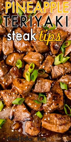 The crispy steak tips are smothered in a homemade sweet pineapple teriyaki marinade that is finger-licking good! For more easy dinner ideas follow Food Folks and Fun! Beef Tip Recipes, Asian Recipes, Recipe For Beef Tips, Cooking Recipes, Minute Steak Recipes, Teriyaki Steak, Beef Steak, Teriyaki Sauce, Beef Dishes