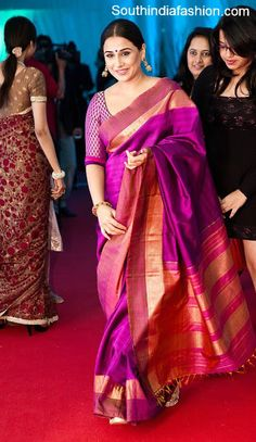 Bollywood actress Vidya Balan in purple color traditional bridal silk saree paired up with quarter sleeves brocade blouse. Related PostsVidya Balan in Gaurang ShahVidya Balan in Traditional SareeVidya Balan in Gaurang Kanjeevaram SareeVidya Balan in Green Saree