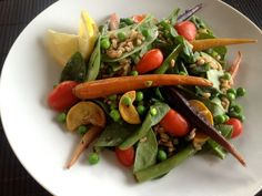 Farro And Spring Vegetable Salad Recipe | Farro is an ancient grain that is quickly becoming trendy. Originally from the Middle East, this grain is ideal for athletes because it is a carbohydrate that is also great source of protein and fiber.