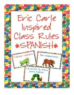 In this download you receive everything you need to set up your classroom rules. This set includes the following class rule signs:*Regulas de Clase (Class Rules)*Trabajar calladito. (Work Quietly)*Ser respetuoso. (Be Respectful)*Levantar la mano para hablar. (Raise Your Hand to Speak)*Caminar. (Walk)*Escuchar. (Listen)If you have a specific rule that is not included here please let me know!