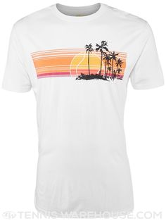 Find your tennis paradise in the Animus Men's Sunset T-Shirt! #Tennis #MenStyle #GraphicTee #Bamboo #Organic #Vacation