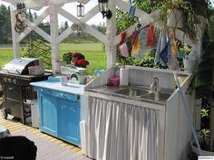 tiskipöytä,kesäkeittiö,Tee itse - DIY,terassi Small Outdoor Spaces, Outdoor Sheds, Hana, Pergola, The Originals, Kitchen, Cottage Ideas, Garden, Google