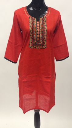- This Kurta is made of 100% cotton linen with nice embroidery on front. It is also comfortable dress for daily Casual wear & this kurta could be worn with contrast color leggings or jeans. - Length i