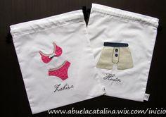 Bolsas de viaje para ropa interior modelo BVA personalizadas Sewing Hacks, Sewing Tutorials, Sewing Projects, Sewing Art, Hand Sewing, Porta Lingerie, String Bag, Patchwork Bags, Fabric Storage