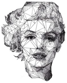 This drawing of Marilyn Monroe is very realistic but also extremely architectural and mathematic.  Each line in her face connects with another to create shapes of many different sizes/ This reminds me of complication and just how complicated life can be, and how complicated a life like Marilyn Monroe's must have been as a global icon.
