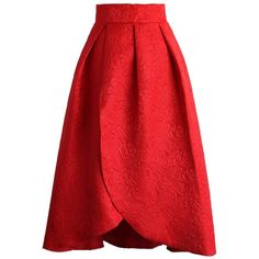 Chicwish Tulip Fairy Embossed Midi Skirt in Ruby (£29) ❤ liked on Polyvore featuring skirts, red, flower print midi skirt, red tulip skirt, floral print skirt, calf length skirts and tulip skirt