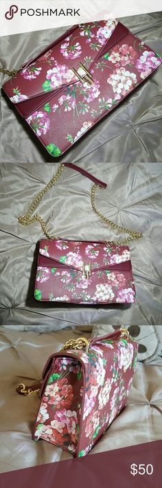 Floral wine Handbag It's a inspired gucci handbag . Very beautiful floral pattern. In good condition  NO TRADES. Bags Crossbody Bags