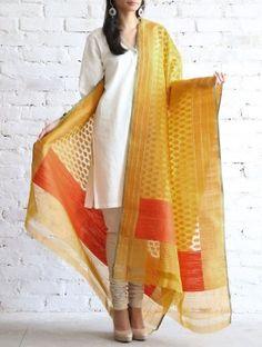 Yellow-Orange Kora Silk Dupatta