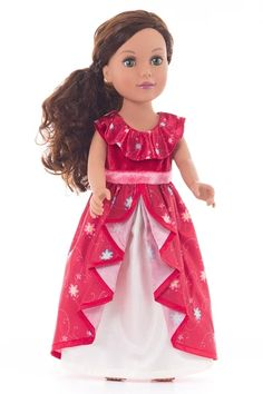 "Little Adventures Doll dresses are exact miniatures of the coordinating princess dress. With the two of them together your little one will be able to dress their doll up to match what they are wearing. All doll dresses are made to fit standard 18"" dolls like American Girl dolls."