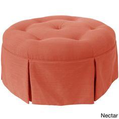 Skyline Furniture Linen Fabric Modern Ottoman in Linen (Linen Nectar), Orange