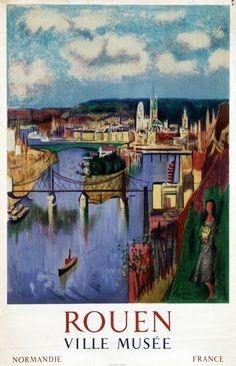 FRANCE - Rouen Jean Aujame (1905-1965): Rouen Ville Musée, 1960 #Vintage #Travel