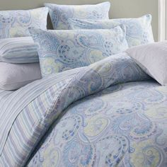 Softta Luruxy Chic Paisley Print Duvet Quilt Cover and Shams Modern Damask Bohemian Egyption Cotton Sateen European Gorgeous Pattern Twin Size Ultra Soft Blue Paisley Blue Bedding Sets, Queen Bedding Sets, Shabby Chic Interiors, Shabby Chic Homes, Bed Duvet Covers, Duvet Cover Sets, Paisley Bedding, Country Bedding, Chic Bedding