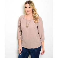 BOGO 50% Taupe Plus Size Top This woven top features 3/4 sleeves, rounded neckline, and relaxed fit. 100% polyester. PLEASE DO NOT BUY THIS LISTING. Comment with your size when you're ready to purchase and I'll make you a new listing. trades. PayPal. Tops Blouses