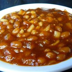Down Home Baked Beans Notes from reviews: If using Bush's beans drain well half sugar add 2 Tablespoons mustard and apple cider vinegar and some worchestershire. Pork and beans or Grandma's brown beans just follow recipe.. (Add ins optional)