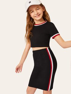 To find out about the Girls Striped Neck & Cuff Top & Bodycon Skirt Set at SHEIN, part of our latest Girls Two-piece Outfits ready to shop online today! Kids Outfits Girls, Cute Girl Outfits, Girls Fashion Clothes, Tween Fashion, Cute Outfits For Kids, Teen Fashion Outfits, Cute Casual Outfits, Stylish Outfits, Young Girl Fashion