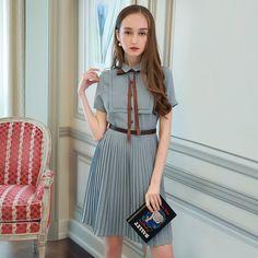 벨트 MIUCO2017 여름 새로운 기관 주름 짧은 소매 칼라 셔츠 흔들 된 여성 드레스