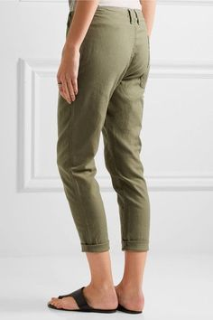 The Great - The Carpenter Cropped Twill Slim-leg Pants - Army green - 28