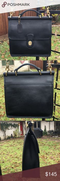 """SALE 🔥 Authentic Coach Willis bag style#9927 EUC The perfect Christmas gift for yourself or someone you love. Beautifully restored Coach Willis bag in sumptuous """"petable"""" black glove tanned leather. Brass is shiny. Pristine """"almost"""" Vintage! Original hang tag, no scrapes, no scuffs. Looks new again after refurbishing process.  Creed #L2X-9927 made in Dominican Republic 2002. Reconditioned October 2017. Comes from a smoke free home. Please ask questions if you'd like more information. Open…"""