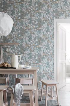 papier peint haut de gamme motif-végétal-mobilier-scandinave