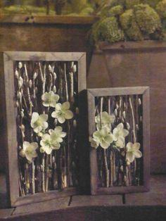 Wilgenkatjes in kader, Bloemschikken Art Floral, Floral Artwork, Deco Floral, Floral Design, Flower Branch, Flower Frame, Flower Art, Contemporary Flower Arrangements, Orchid Arrangements