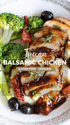 My favorite way to prepare chicken, this easy Balsamic Chicken has only a few ingredients. Try this balsamic vinegar chicken over salads, rice, or with potatoes. Here, I've served it over a low carb cauliflower mash with broccoli, and prepared some for my meal prep. | SUNKISSEDKITCHEN.COM | #SunkissedKitchen #easy #whole30 #recipe #video #skillet #healthy