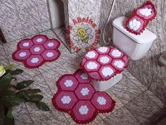 Resultado de imagem para jogo de banheiro em croche vermelho com branco