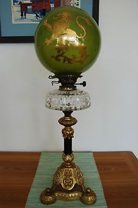 GWTW Antique Gone with The Wind Oil Kerosene Banquet Piano Parlor Old Lion Lamp http://www.morninggloryantiquescollect.com/