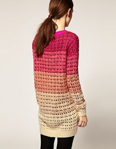 Open knit jumper dress, featuring a graduated colour block design, a scoop neckline, long sleeves styling, webbed cuffs and hem, with a mini cut length, in a chunky open knit finish.