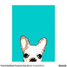 French Bulldog Turquoise Pop Art Postcard