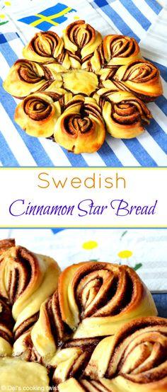 A beautiful cinnamon star bread shaped like a cinnamon bun. Perfect for Midsummer! Bread Recipes, Cooking Recipes, Cooking Corn, Cooking Wine, Cooking Turkey, Cooking Games, Bread Shaping, Swedish Recipes, Christmas Baking