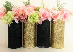 Wedding Centerpiece, Gold Wedding Decor, Cylinder Vase, Black and Gold Party Decor, Graduation Party, Glitter Vases, Pink and Gold, Set of 4 by LimeAndCo on Etsy https://www.etsy.com/listing/274437718/wedding-centerpiece-gold-wedding-decor