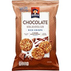 Quaker Rice Crisps, Chocolate, oz Bags, 12 Count (Packaging May Vary) Eggo Pancakes, Gourmet Recipes, Snack Recipes, Whole Grain Brown Rice, Rice Crisps, Flavored Rice, Food Pack, Healthy Snacks For Adults, Chocolate Packaging
