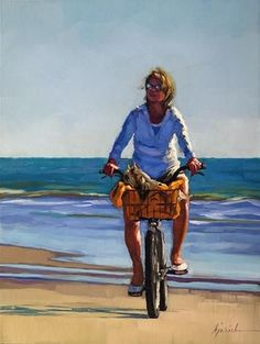 """Daily Paintworks - """"Bicycle For Two"""" - Original Fine Art for Sale - © Karin Jurick Bicycle For Two, Bicycle Art, Painting People, Figure Painting, Beautiful Paintings, Beach Paintings, Beach Artwork, Beach Scenes, Fine Art Gallery"""