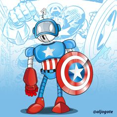 #captainamerica #robot #VINTAGEROBOT #capitanamerica #ilustracion #coreldraw #photoshop #marvel #heroe #comic #caricatura #avengers #captainamericacivilwar