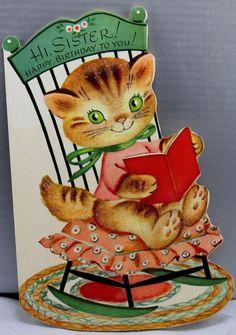 1960s Birthday Greeting Card Vintage Kitty Cat Green Eyes Sister Glitter Reading